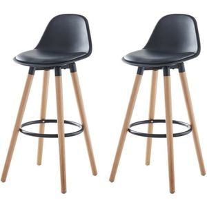 TABOURET DE BAR BRIT Lot de 2 tabourets de bar - Simili noir - Pie