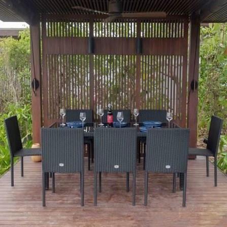 SALON DE JARDIN  Ensemble table en verre trempé et 8 chaises Cancun