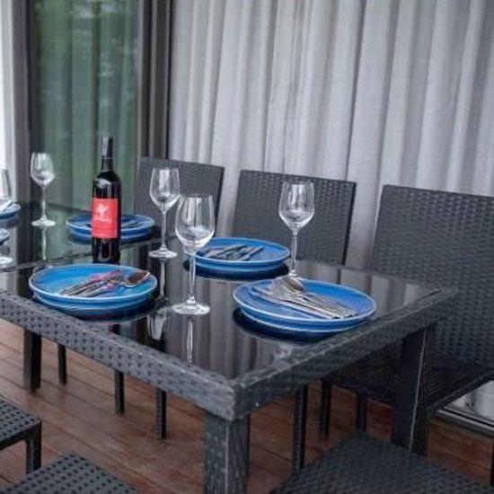 Ensemble table en verre trempé et 8 chaises Cancun en résine tressée - 200  x 100 x 73 cm - Noir