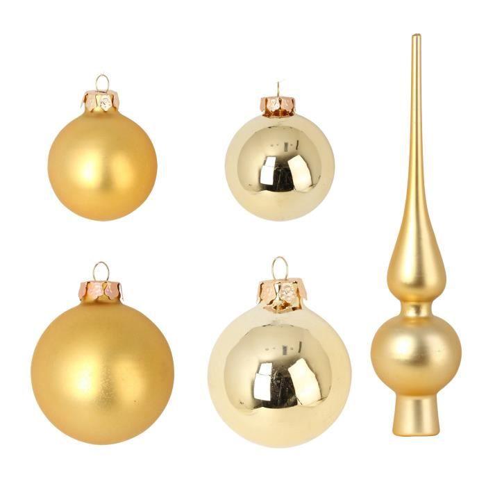 BOULE DE NOËL Set de 19 boules de Noël en verre avec 1 cimier -