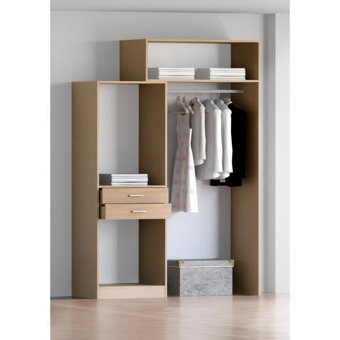 ferro kit dressing coloris poirier 141x203cm achat vente dressing penderie ferro kit. Black Bedroom Furniture Sets. Home Design Ideas