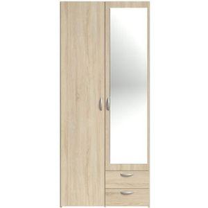 ARMOIRE DE CHAMBRE VARIA Armoire 2 portes miroir décor chêne - L 81 x