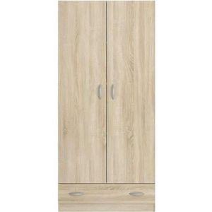 ARMOIRE DE CHAMBRE VARIA Armoire 2 portes décor chêne L78 cm