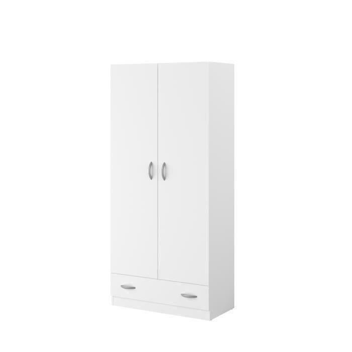 ARMOIRE DE CHAMBRE VARIA Armoire 2 portes décor blanc L78 cm
