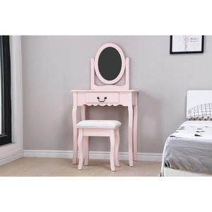 COIFFEUSE Coiffeuse avec Miroir + Tabouret - Décor rose et p