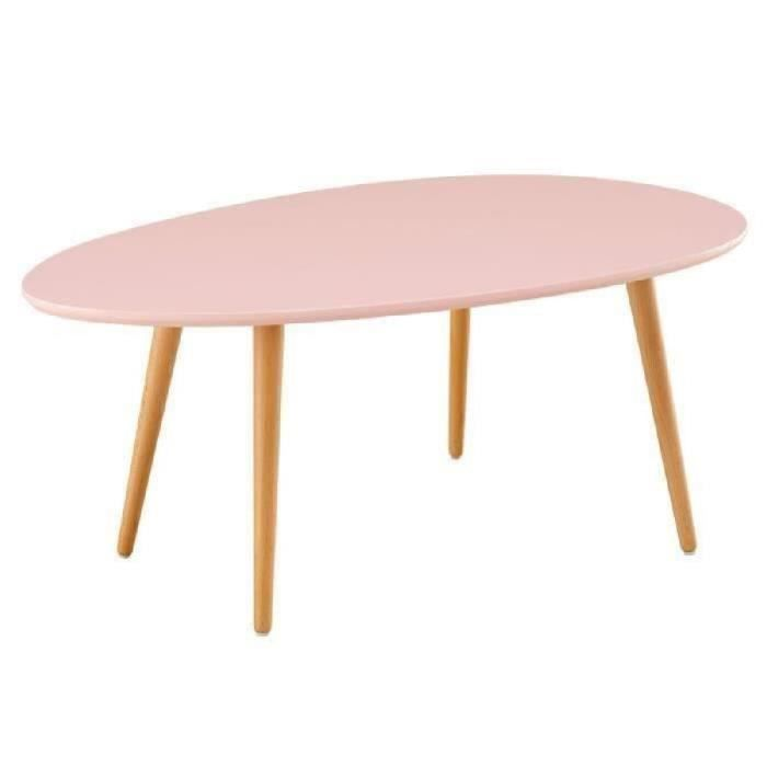 Stone02 table basse style scandinave en mdf laqu rose for Table carree style scandinave
