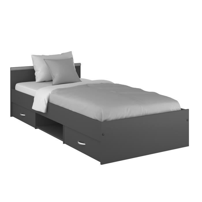 zodiac lit enfant contemporain gris ombre l 90 x l 200 cm achat vente structure de lit. Black Bedroom Furniture Sets. Home Design Ideas
