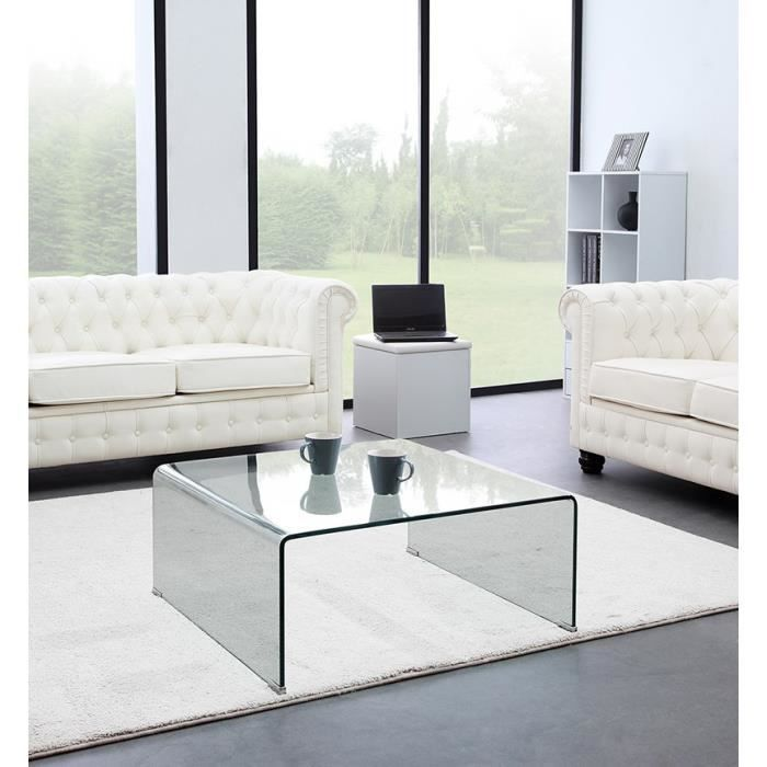 glass table basse carr e en verre tremp achat vente. Black Bedroom Furniture Sets. Home Design Ideas