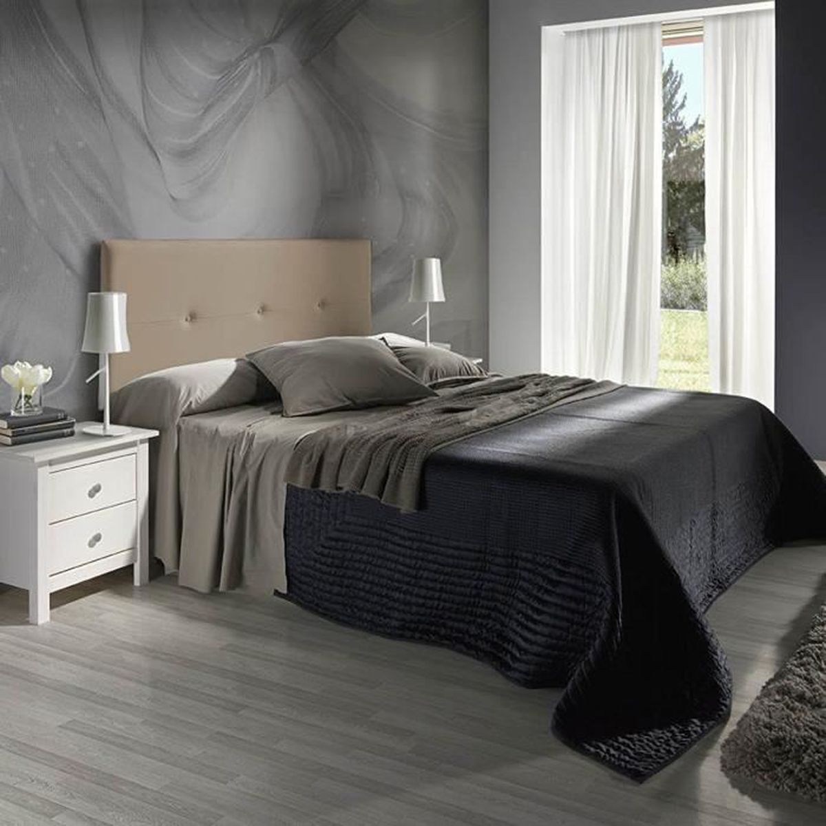 tete de lit 160 couleur taupe achat vente pas cher. Black Bedroom Furniture Sets. Home Design Ideas