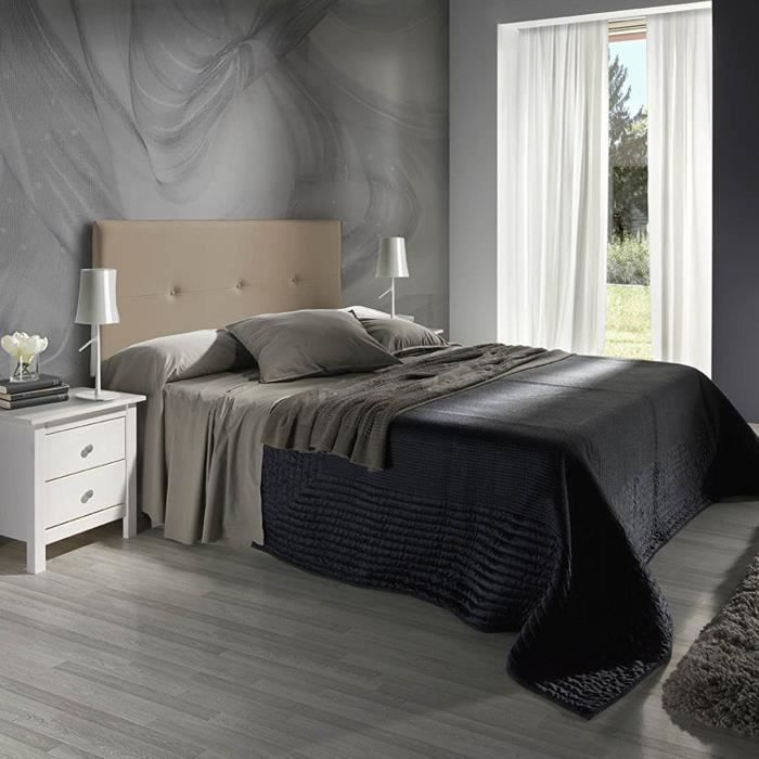madrid t te de lit 160 cm en simili taupe achat vente t te de lit madrid t te de lit. Black Bedroom Furniture Sets. Home Design Ideas