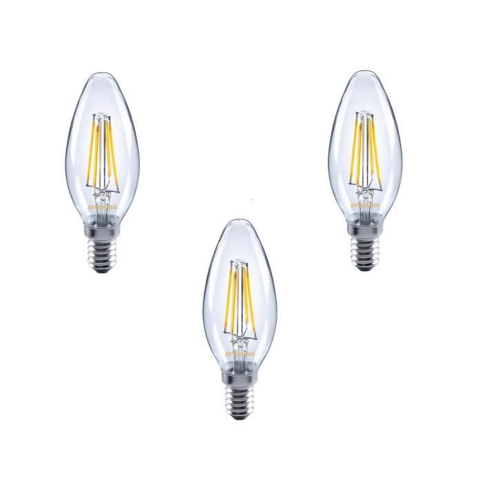 sylvania lot de 3 ampoules led filament toledo retro candle e14 4 w quivalent 35 w achat. Black Bedroom Furniture Sets. Home Design Ideas