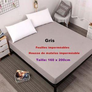 MATELAS Gris - 160 x 200cm  Feuilles imperméables Housse d