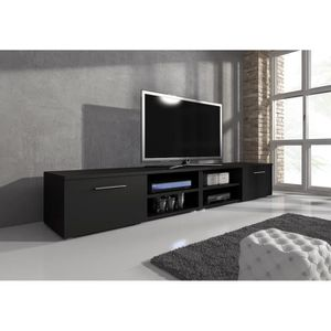 meuble tv noir mat achat vente meuble tv noir mat pas cher cdiscount. Black Bedroom Furniture Sets. Home Design Ideas