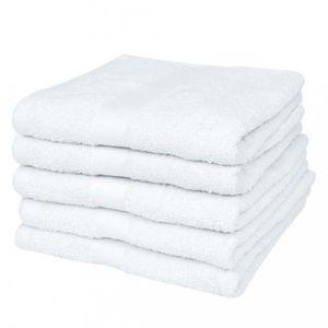SERVIETTES DE BAIN Magnifique 5 serviettes de toilette blanches 50 x