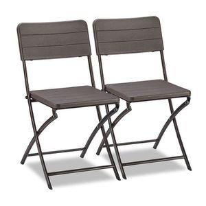 CHAISE Relaxdays Lot de 2 chaises de Jardin Aspect Bois r