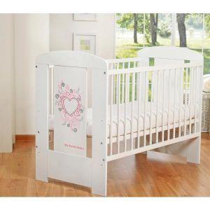 LIT BÉBÉ Lit bébé à barreaux 120 x 60 cm coeur rose