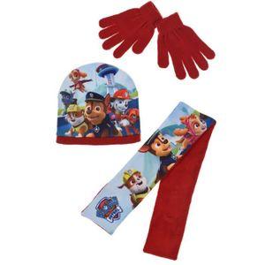 BONNET - CAGOULE Ensemble rouge bonnet+gants+écharpe La Pat Patroui