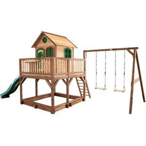 MAISONNETTE EXTÉRIEURE AXI Maisonnette Enfant Cabane en bois 2 en 1 Liam