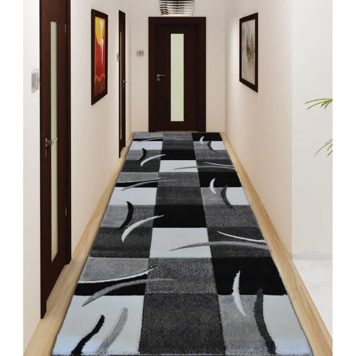 Diamond tapis de couloir 80x300 cm gris noir et blanc for Tapis shaggy avec canape d angle black friday