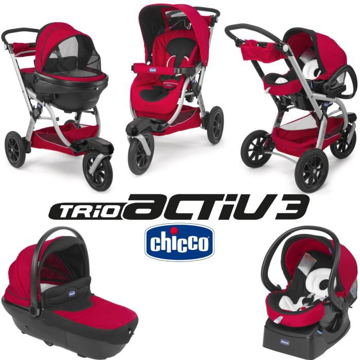 POUSSETTE  CHICCO Trio Activ3 Red Wave