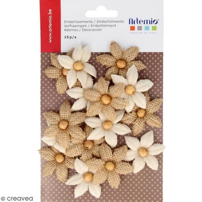 Fleurs Lys en toile avec perle - 15 pcs Lot de fleurs en toile pour scrapbooking, carterie, Home Deco et création de bijoux : -