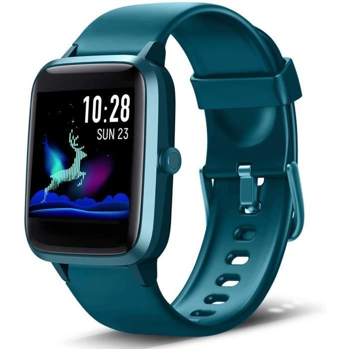 Lintelek Montre Connect&eacutee Intelligente Homme Femme Ecran Tactile, Smartwatch Cardio Fr&eacutequence Bracelet Connect&ea[231]