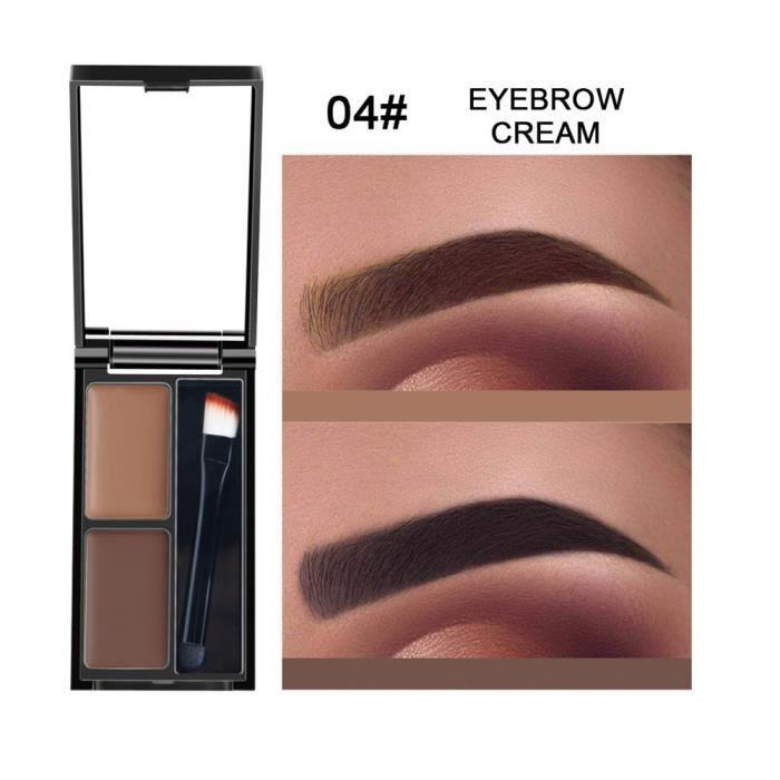 crayon à sourcils Kit d'ombrage cosmétique de palette de sourcil de poudre de sourcil de 2 couleurs avec le miroir D de brosse