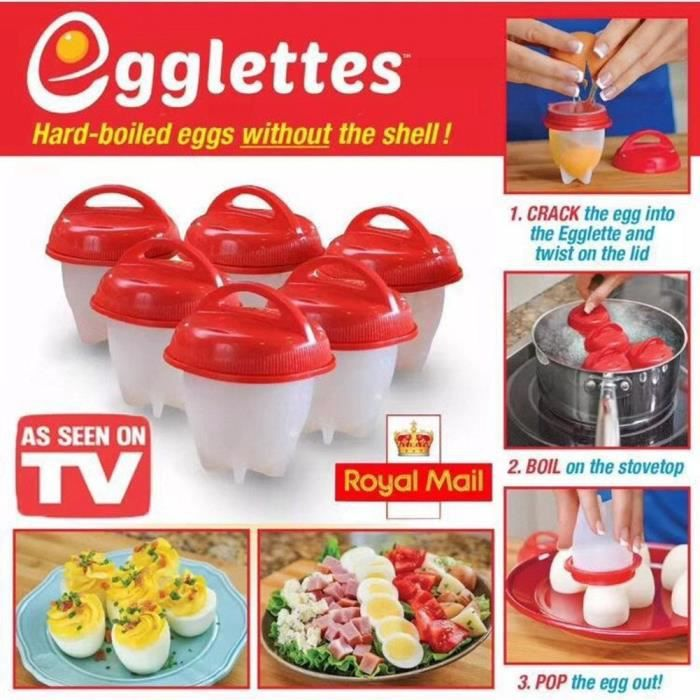 6 pcs Cuiseur à oeufs Coquetier bouilli Gel de silice Moule sans coquille Outils de production