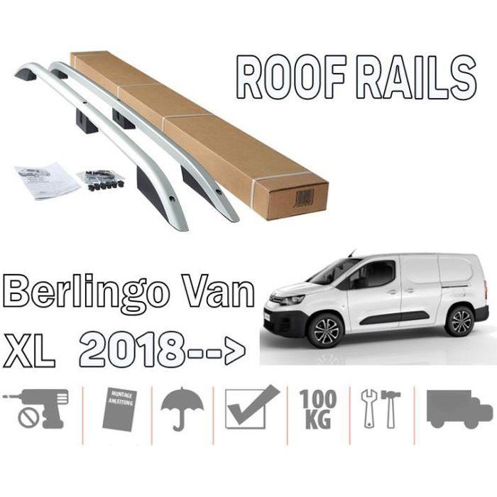 Barres de toit pour Citroen Berlingo III 09-2018> Van long longitudinales alu + pieds plastique noir