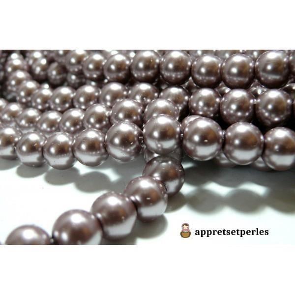 Offre spéciale : 1 fil environ 85 perles de verre nacre vieux rose foncé 10mm ref B27