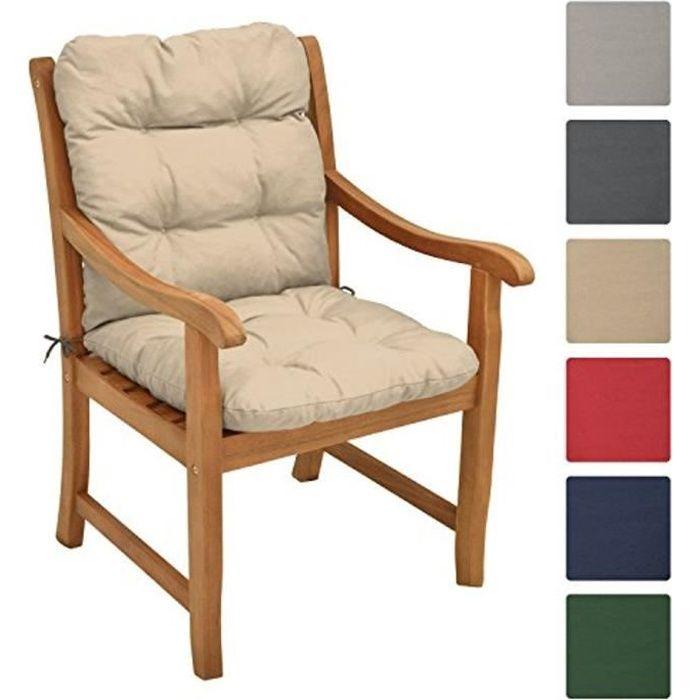 Beautissu Coussin Flair NL 100x50x8cm - Nature - Coussin dossier bas pour chaise fauteuil de jardin terrasse