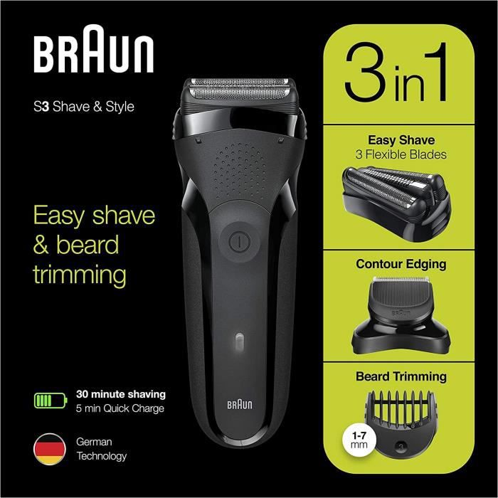 Braun Series 3 Shave&Style 300BT Rasoir Électrique Barbe Homme, Noir