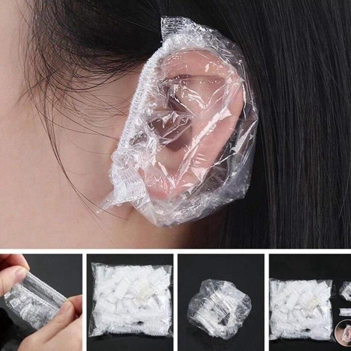 Bonnets de douche,Protège oreilles imperméable jetable, 100 pièces, bonnet de protection, pour douche, bain, teinture - Type Clear