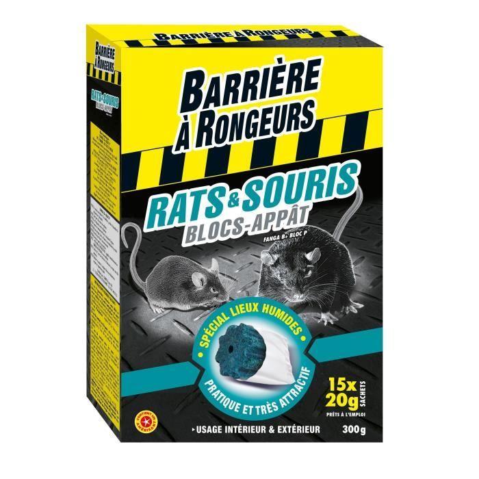 BARRIERE A RONGEURS Blocs appâts pour rats et souris - Spécial lieux humides - 15 x 20 g