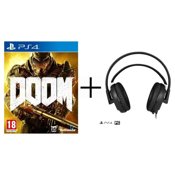 Pack Doom Jeu PS4 + Steelseries Casque micro Siberia P300 Gaming