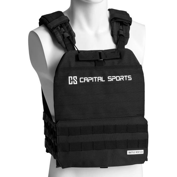 CAPITAL SPORTS Battlevest 2.0 Veste lestée de poids 13 kg - 4 disques en acier -2x 2,5kg + 2x 4kg) - Noire