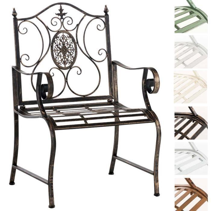 CLP Chaise de jardin PUNJAB, en métal verni, antique, style romantique, environ 60 x 50 cm