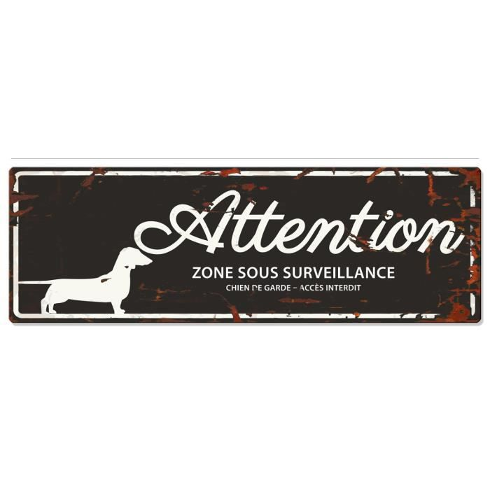 D&D Plaque Attention Chien Dachshund - Noir