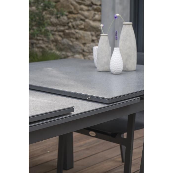DCB GARDEN Table Miami en aluminium et verre avec rallonge automatique - 240-300 x 100 cm - Gris anthracite