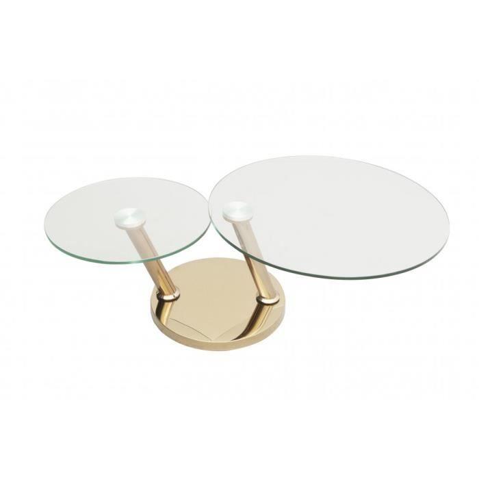 Table basse OPTION Ã doubles plateaux pivotants en verre trempé et pied en acier CUIVRE transparent Verre Inside75