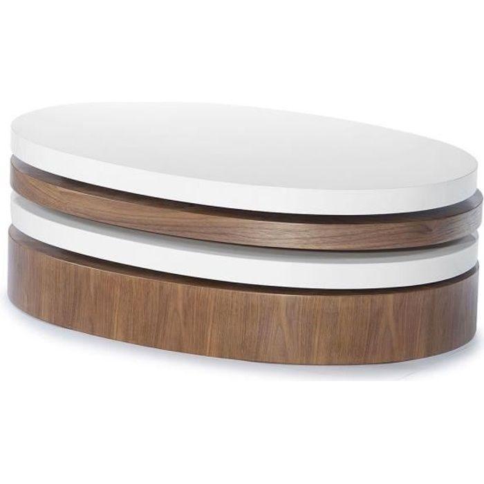 Table basse bois et laqué SIDONY - Noyer/Blanc - Bois foncé 30 Bois Foncé