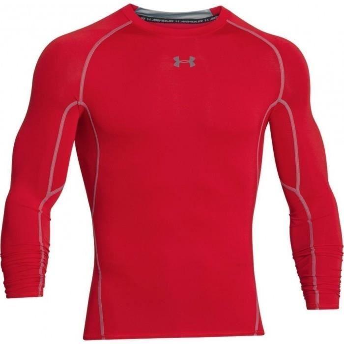 Maillot de compression à manches longues Under Armour Heatgear rouge pour homme