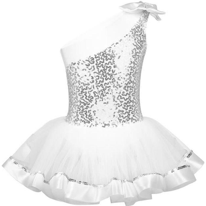 Tutu Danse Classique Fille Leotard Ballet Paillette Bodysuit Dancewear Enfant 3-8 Ans Blanc