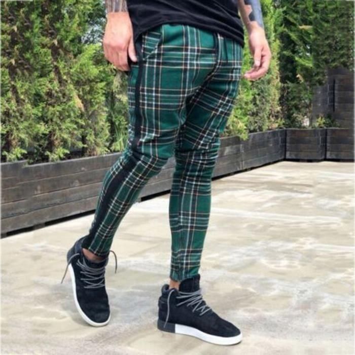 Pantalons de sport décontractés longs pour hommes Pantalon à carreaux coupe ajustée Pantalon de jogging de course à pied Noarlall