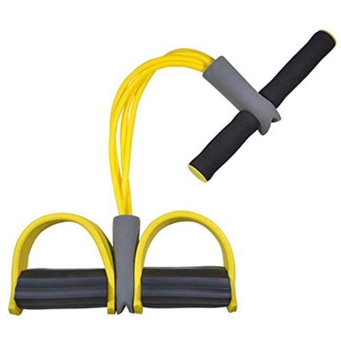 Bande élastique de résistance de ventre rameur d'exercice de cordes de traction de résistance - Jaune