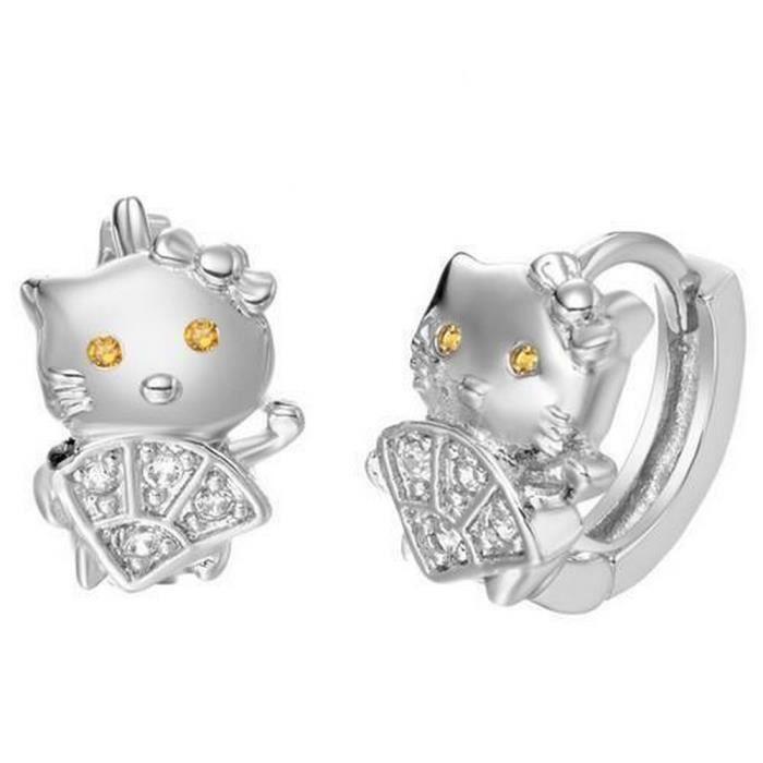 Boucles d'Oreille Créoles Hello Kitty Argent 925