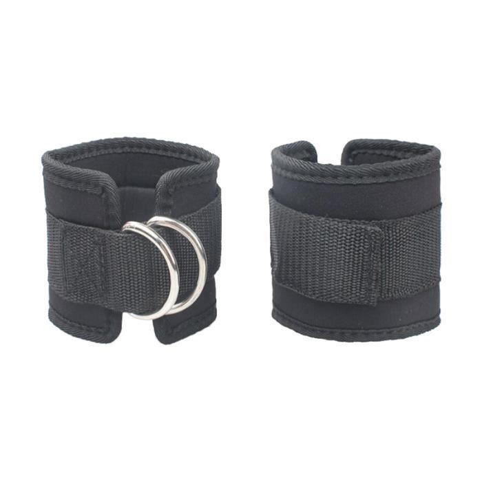 2pcs sangles cheville sport d-anneau veau bande pour gym séances d'entraînement des exercices de jambe (noir)