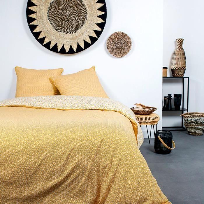 TODAY Parure de lit 2 personnes - 220 x 240 cm - Coton imprime jaune Ethnique DESERT CHIK Kalahari
