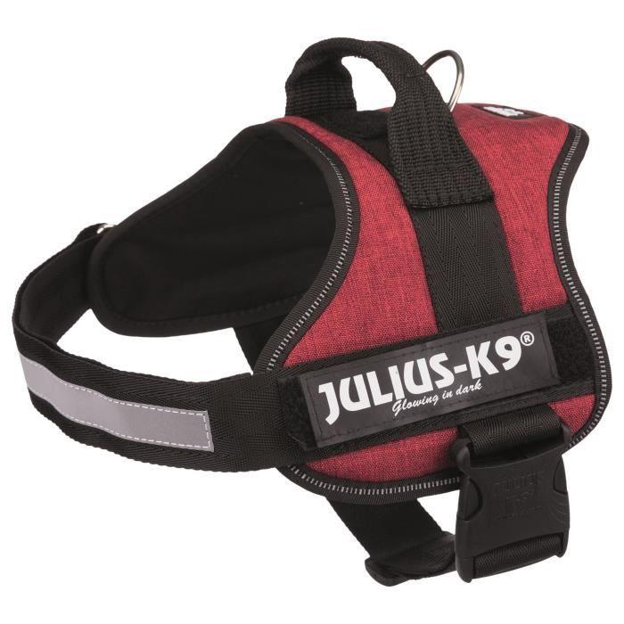 JULIUS K9 Harnais Power 0–M–L : 58–76 cm - 40 mm - Rouge bordeaux - Pour chien
