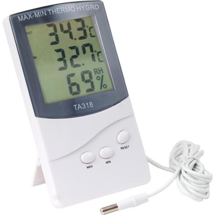 TRIXES Thermomètre numérique 2 capteurs intérieur extérieur température, alarme, météo